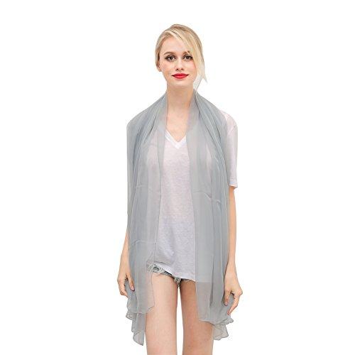 Silk Scarf Shawl Wrap Art - NovForth Chiffon Shawls and Scarf Women's Fashion Sunscreen Shawls Wraps Silver
