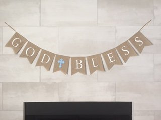 God Bless Burlap Boy Banner - Baptism - First Communion - Christening - Baby Shower - 5 Blue Latex Balloons