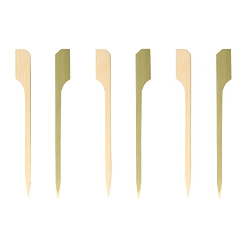 "BambooMN 3.5"" Decorataive Natural Bamboo Paddle Cocktail Hors D'oeurves Fruit Sandwich Skewers Picks for Catered Events, Holiday's, Restaurants or Buffet Party Supplies, 25 Pieces"