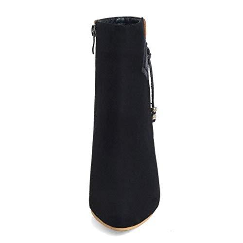 Talons Boots Charmant Taoffen Hauts Cheville Marron Femmes Pointu Zqn65wI6