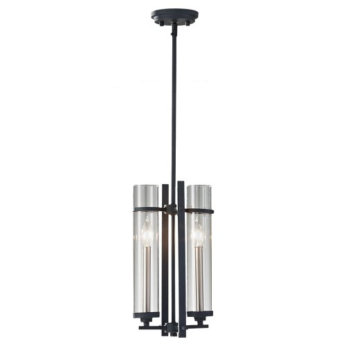 Feiss P1251AF/BS 2-Bulb Chandelier, Antique Forged Iron/Brushed Steel Finish - 17.25' 1 Light
