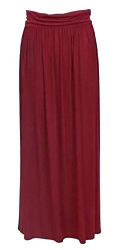 S lunga Gonna pieghe gonna Jersey Maxi Over Fashions 3XL Donna a Vita Girovita Viscosa Islander Wine Ladies Fold Z1x8Bx64