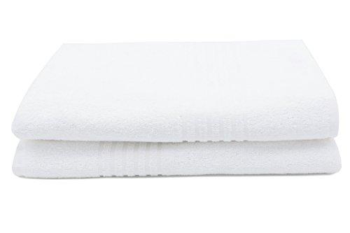 ZOLLNER 2 Toallas de Ducha de Rizo Blancas, 70x140 cm, 100% algodón: Amazon.es: Hogar