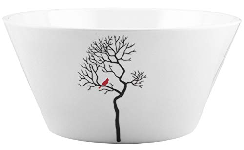 Melange 6-Piece 100% Melamine Bowl Set (Christmas Collection) | Shatter-Proof and Chip-Resistant Melamine Bowls | Design: Bird in Forest