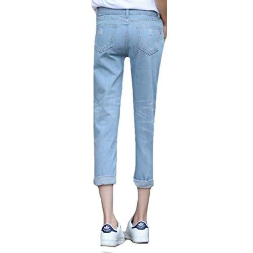 9769da7519f88 hot sale OULIU Women Fashion Korean Ripped Crimping Jeans Nine Haren ...