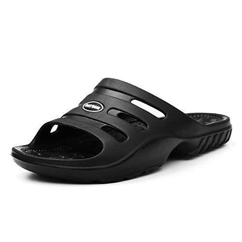 Raydem Men's Slide Sandals with Arch Support for Shower Pool Beach Sports Gym Spa Trip Outdoor House Black 12