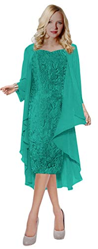 ThaliaDress Womens Lace Straps Mother of Bride Dress with Chiffon Shawl T107LF Pale Blue - Lace Blue Dress Pale