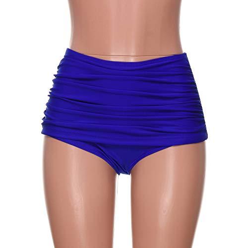 B-commerce Frauen Hoch Taillierte Schwimmen Boden Geraffte Bikini Badeanzug Briefs Plus GrößE Kurze Hose FüR Schwimmen Strand Blue FLPzCR1G Dauerhafter Service