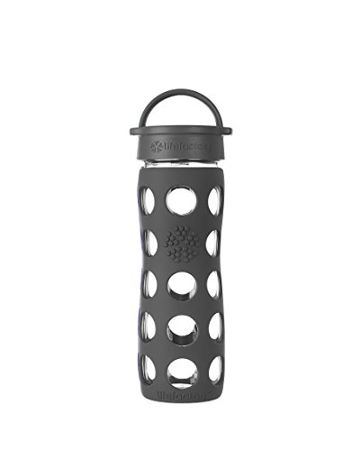 Lifefactory 16-Ounce BPA-Free Glass Water Bottle with Leakproof Cap & Silicone Sleeve, Carbon