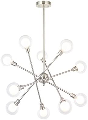 VINLUZ Sputnik Chandelier Lighting 10 Lights Glass Sphere Modern Pendant Light G9 Base Ceiling Light Fixture Brushed Nickel Finish 10 Bulbs Included