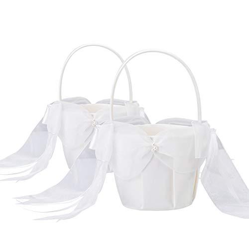 BETAULIFE Ivory Elegant Satin Bow Flower Girl Basket Ivory 2 pcs/Pack (Basket)