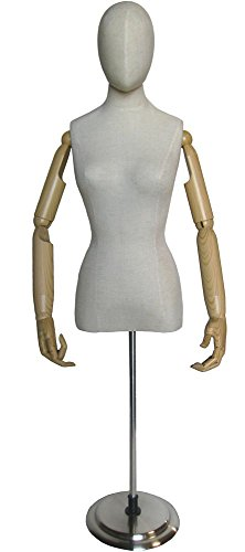 Ladies Egghead Dress Form with Articulate Bendable Arms -...