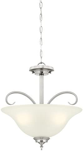 Westinghouse Lighting, Brushed Nickel 6305400 Harwell Three-Light Indoor Convertible Pendant Semi-Flush Ceiling Fixture, Finish with Frosted Glass