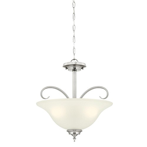 - Westinghouse Lighting 6305400 Harwell Three-Light Indoor Convertible Pendant/Semi-Flush Ceiling Fixture, Brushed Nickel Finish with Frosted Glass,