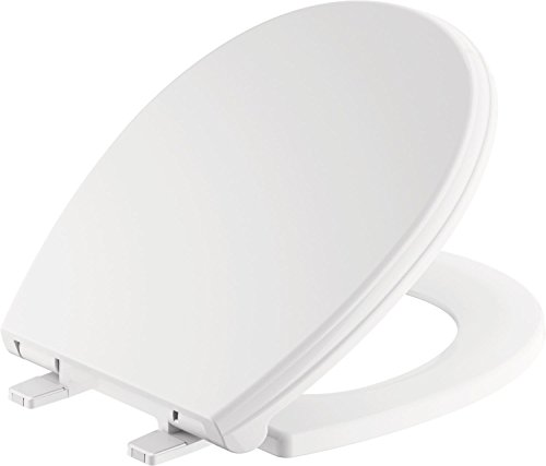 Delta Faucet 801901-WH Wycliffe Round Front Slow-Close Toilet Seat with Non-slip Seat Bumpers, - Slow Toilet Lid Close