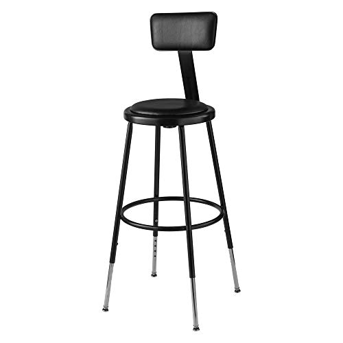 (National Public Seating 6400 Adjustable-Height Stool with Back, 24