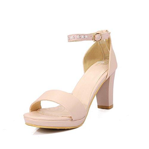 AllhqFashion Damen Schnalle Weiches Material Hoher Absatz Sandalen mit Hohem Absatz Pink