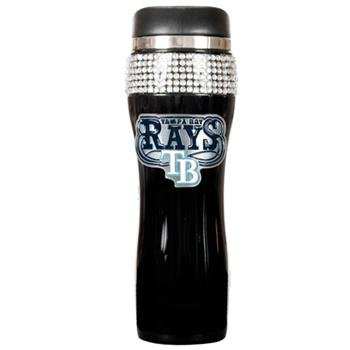 MLB Tampa Bay Rays 16-Ounce Black Stainless Steel Bling Tumbler ()