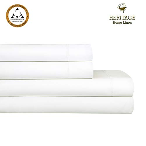 Heritage Home Linen Bed Sheet Set,4 Piece Set,Egyptian Cotton Blend 800 Thread Count Queen size,Solid Sateen Weave,Deep Pockets up to 18