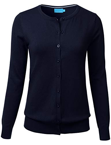 FLORIA Women's Button Down Crew Neck Long Sleeve Soft Knit Cardigan Sweater Navy L