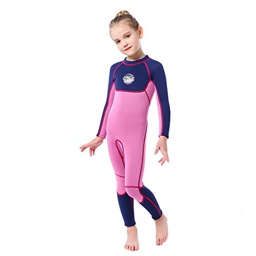 - Full Body Kids Wetsuit Neoprene One Piece Warm Swimsuit 2.5MM for Girls Boys Children, Long Sleeve UV Protection Swimming Suit Back Zip for Surfing Scuba Snorkeling Diving Fishing (Girls Purple, M)
