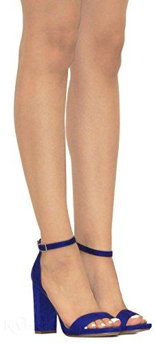 Su Mve Strap Fashion Chunky Blue Heeled sandals Women's Ankle Shoes s rRSqfxr