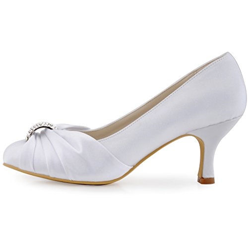 Donna Partito Strass HC1526 Ballo ElegantPark Raso Volant Bianco Chiusa Tacco Sposa Medio Punta Pompe Sera 5T7U1qw