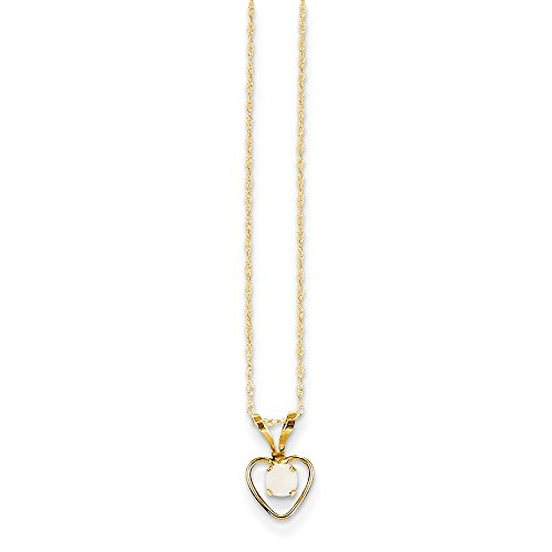 14k Yellow Gold 3mm Opal Heart Chain Necklace Pendant Charm Kid Fine Jewelry Gifts For Women For Her