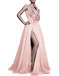 2ca7b08919a Prom Dresses Sexy Deep V Neck Sequins Beads Tulle and Lace High Split Long  Evening Dresses