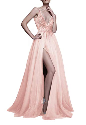Glamorous Sexy Evening Dresses 2019 Deep V Neck A Line Beaded Bodice with Slit Tulle Prom HFY170503-Pink-US16