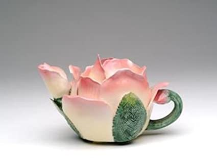 Pink and White Rose Petal Shaped Teapot with Green Leaf Like Handle