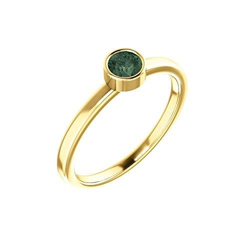 Bonyak Jewelry Lab-Created Alexandrite 14k Yellow Gold Chatham Created Alexandrite Ring - Size - Alexandrite Chatham Gold Ring