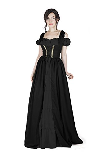 Renaissance Medieval Irish Costume Over Dress & Boho Chemise Set (2XL/3XL, Black/Black) -