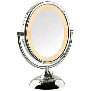 Jerdon HL958C 8-Inch Oval Halo Lighted Vanity Mirror with 8x Magnification, Chrome Finish