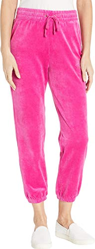 Juicy Couture Women's Juicy Emboss Velour High-Waisted Zuma Pants Raspberry Pink Petite/X-Small 25.5
