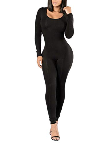 XUGWLKJ Women's One Piece Bodysuit Shapewear Bodycon Clubwear Jumpsuits Romper Black ()