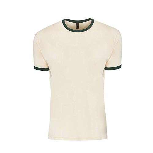 Next Level Adults Unisex Cotton Ringer T-Shirt (XS) (Natural/Forest Green)