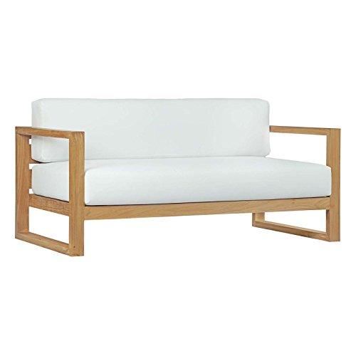 Modway EEI-2707-NAT-WHI Upland Outdoor Patio Teak Sofa, Natural ()