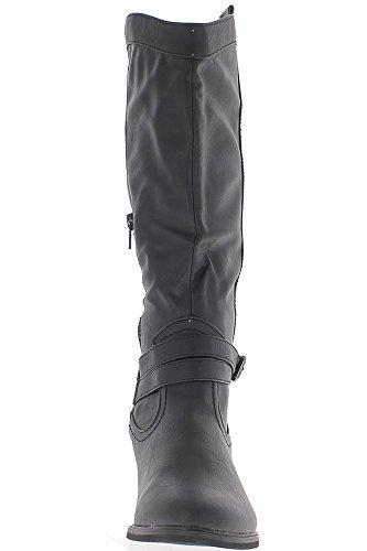 Chaussmoi Western Bottes De 5cm Talon Noir Doublé De 2 Fines Lanières