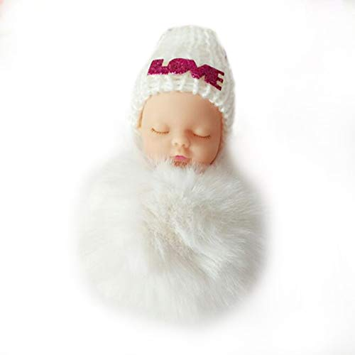 Detectorcatty Creative Cute Sleeping Baby Doll Keychain Small Soft Fur Doll Pendant Car Bag Charm Fluffy Ball Keyring Toy