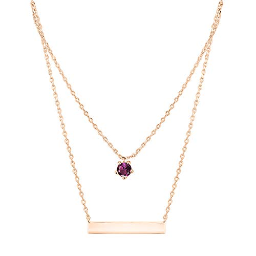 PAVOI 14K Rose Gold Plated Swarovski Crystal Birthstone Bar Necklace Pendant Engraveable ()
