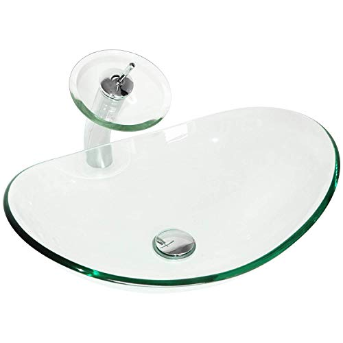 BATHJOY Modern Bathroom Tempered Clear Glass Vessel Sink Oval Bowl Waterfall Faucet & Pop-up Drain Combo