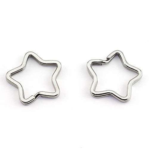 Lind Kitchen 10pcs Creative Flat Key Ring DIY Keychain Accessories Metal Key Split Ring Silver 5-Point Star Shape