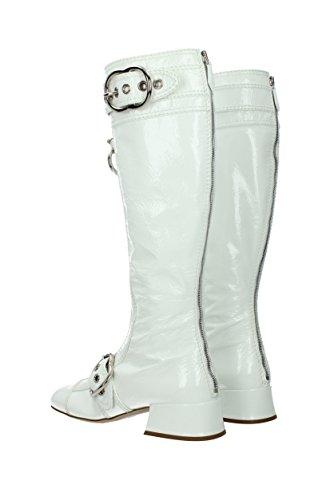 Blanc Bottes EU 5W316B Cuir Miu Femme Verni Miu 7xw0Hzq6