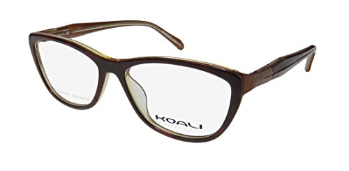 Koali 2893s Womens/Ladies Cat Eye Full-rim Flexible Hinges Eyeglasses/Eyeglass Frame (51-14-135, Havana / Bronze)