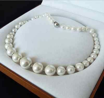 Loune Week>>>@@ Genuine 8-16mm White South sea Shell Pearl Necklace Jewelry 18'' AAA Style fine Noble Real Natural s