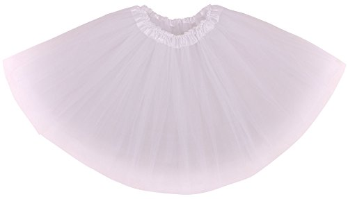 (Simplicity Women's Classic Elastic, 3-Layered Tulle Tutu Skirt, White, One)