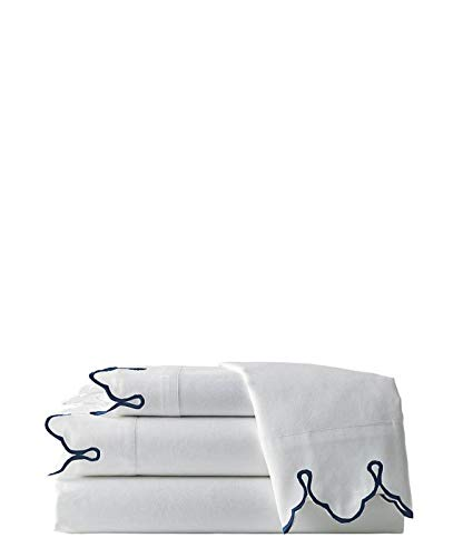 Belle Epoque Traditional Scalloped Embroidered Queen Sheet Set Navy 4 Piece