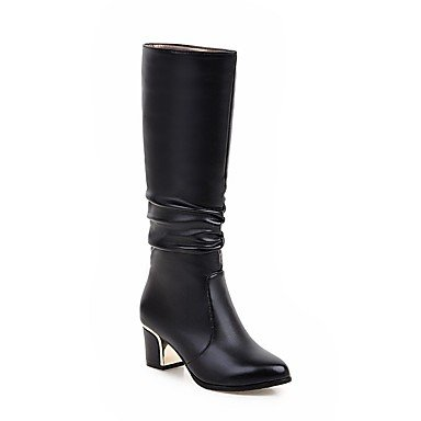 US9 Heel For Boots Black EU41 Boots RTRY Dress Toe Shoes 8 Boots CN42 Calf Women'S Chunky Leatherette Round 5 Casual Winter 5 10 Mid UK7 Fashion White xxqHw8Xp6