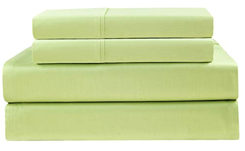 Cotton Craft - Ultra-Soft 400-Thread-Count Cal King Size Sheet Set in Sage, Premium 100% Pure Combed Cotton, 4-Piece Sateen Bedding Set with 1 Deep-Pocket Fitted Sheet, 1 Flat Sheet & 2 Pillowcases